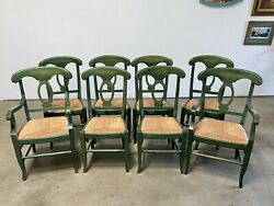 8 Green Pottery Barn French Country Napoleon Rush Dining Chairs 2 W/arms 1990s