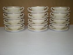 Mint Set 12 Villeroy Boch Ivoire Bone China Cream Soup Coupe Bowl Cup Used Once