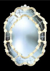 Mirror In Murano Glass Classic Venetian Gold 24 Made By Hand In Italy