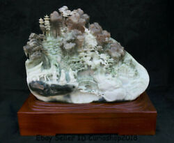 13.8 Natural Dushan Jade Carved Old Man Horse Drawn Tram Mountain Water Statue