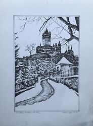 Etching Signed Maringer Imperial Castle City Cochem Mosel Wine Dated 1993