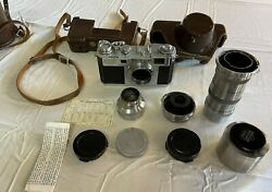 Nikon S2 Rangefinder Camera With 3 Lenses And Cases All Original