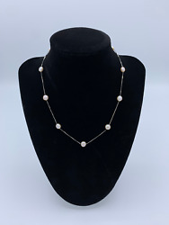 14k White Gold Button Pearl Choker Necklace
