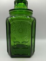 Vintage Wheaton Green Glass Canister Large Sunflower 9.5