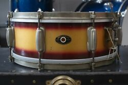1950s Slingerland 5x14 Burgundy And Gold Duco Student Radio King Snare Drum