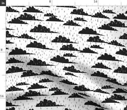 Rain Monocrome Cloudy Baby Hipster Weather Clouds Spoonflower Fabric By The Yard