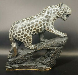 African Verdite Stone Carving Of A Cheetah Rhodesia 1960s S-1f