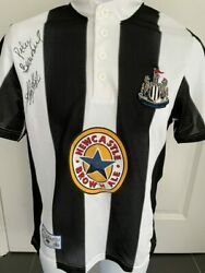 Signed Kevin Keegan Peter Beardsley Newcastle 95-96 Home Shirt The Entertainers