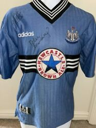 Signed Kevin Keegan Peter Beardsley Newcastle 96-97 Away Shirt The Entertainers
