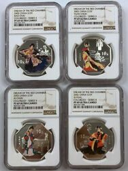 4pcs Ngc Pf69 2002 China 1oz 10yuan Silver Coin Dream Of The Red Chamber Series
