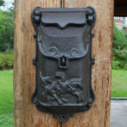 Vintage Cast Iron Running Horses Wall Door Mounted Mail Box Home Letter Handmade