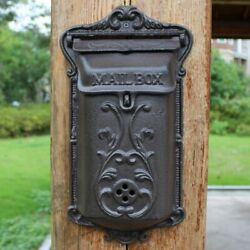 Vintage Cast Iron Leaves Sturdy Wall Door Mounted Mail Box Home Letter Handmade