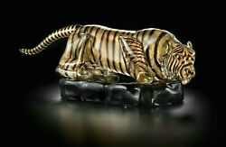 Tiger In Murano Glass Original On Base Black Gold 24 Carat Hand Made Italy