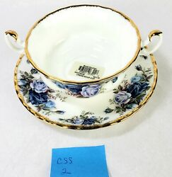 Royal Albert Moonlight Rose Footed Cream Soup Bowl And Saucer Two Handles Css2