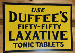 Duffee's Laxative 1930 14 X 9 Sign Tin Yellow Black Embossed Fifty-fifty Vtg