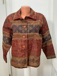 COLDWATER CREEK Tapestry Jacket Button metallic look long sleeve large