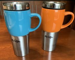 2 New 16 Oz Stainless Steel Ceramic Travel Mugs Handle And Lid Mr. Coffee Traverse
