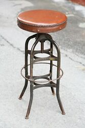 Vintage Toledo Drafting Stool Industrial Chair Leather Seat Bar Workbench Swivel