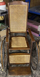 Antique Wheelchair 1840's Vintage Pre Civil War Old And In Working Condition