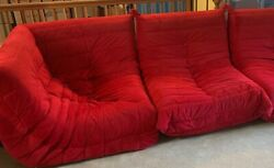 Mcm 60s 70s Low Retro Red Ligne Roset Togo Style Sofa Sectional Sections Suede