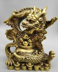 Old China Hand-carved Pure Brass Millennium Dragon Coin Wealth Big Statue