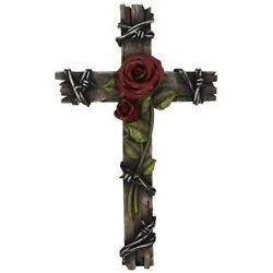 Polly House Rose with Wood Look Resin 10quot; CROSS Wall Cross for Home Decoration $31.65