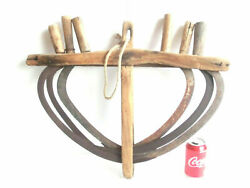 Antique Hand Sickle Reaping Hooks 6pcs With Original Wooden Wagon Hanging Holder