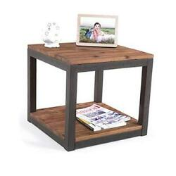 Vintage Industrial Farmhouse 19.7 Inches Side End Table With Storage Shelf