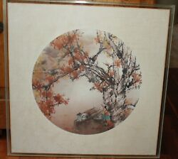 Original Henry Wo Yue-kee 24x24 Watercolor Fishing In Autumn Circa 1970and039s