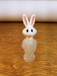 1 Vintage Plastic Easter Bunny Rabbit Candy Containers 5-1/2 Inches Tall
