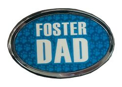 Blue Paw Print Foster Dad Auto Emblem Peel-and-stick Decal Dogs Cats Pets Animal