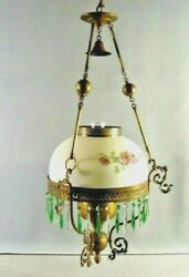 Hanging Oil Lamp Crystal Green Pendants Floral Glass Crystals