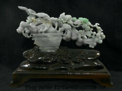 13.2good China Natural Emerald Jade Jadeite Carved Mouse Mice Gourd Lucky Decor