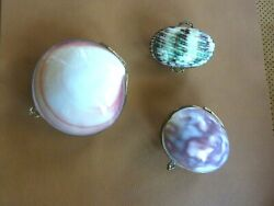 Vintage Shell Seashell Brass Hinged Coin Trinket Boxes  Lot Of 3 Asst. Types