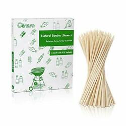 Natural Bbq Bamboo Skewers, Wooden Skewers For Assorted Fruits, Kebabs, 6 Inch