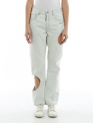 Nwt Off-white - Women's Whitewashed Denim Jeans With Cut Out,relaxed Fit,size 28