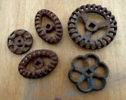Lot 5 Vintage Cast Iron Water Faucet Knobs Valves Handles Steampunk Industrial