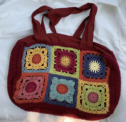 Large Crocheted Granny Squares Tote Overnight Red Bag 22quot; x 13quot; $29.99