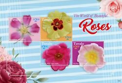 Tuvalu 2021 Mnh Flowers Stamps World Of Beautiful Roses Rose Nature 4v M/s