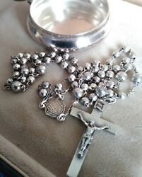 Vintage Antique 19th Century English Sterling Rosary And Case Hallmark 56 Grams
