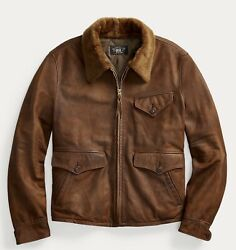 Rrl Shearling Collar Quilted Lined Leather Jacket-men- Xxl