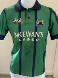Signed Kevin Keegan Peter Beardsley Newcastle 93-95 Third Shirt The Entertainers