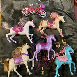 Barbie Horse Lot Of 5 Vintage Horses And A Bicycle