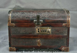 10.4 Old Chinese Rosewood Wood Carved Dynasty Phoenix Birds Jewelry Box Chest