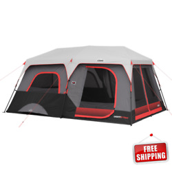 Core 10 Person Lighted Instant Cabin Tent Zippered Panels Windows Doors Camping