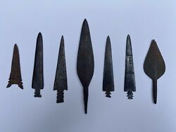 7 Metal Trade Points/arrowheads From Dakotas. Plains Indians/sioux Iron Points.andnbsp