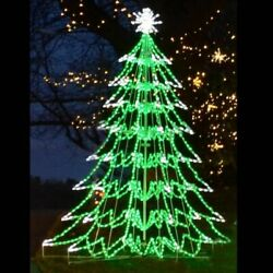 Christmas Tree Light Display 3d Led Outdoor Yard Art Lawn Decoration Large Green