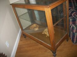 Antique Vintage Store Oak Display Case Beveled Glass Top And Cast Iorn Feet