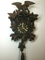 Large Antique G.k Cuckoo Clock Eagle With Leaves 30-hour
