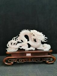 38 Cm China Natural White Jade Sculpture Mythical Beast Dragon Pattern Sculpture